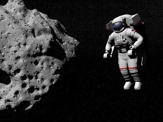 Astronaut exploring asteroid - 3D render