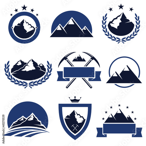 Mountain labels and icons set. Vector