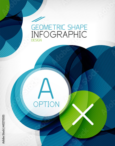 Glossy circle geometric shape info background