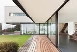 Beautiful interior of a modern villa, view from veranda