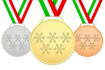Medaglie italiane con 5 fiocchi di neve