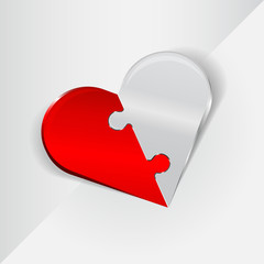 Vector abstract Valentine background with folding heart