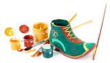 Hand made ceramic saint patricks day boot and color paints