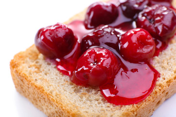 Delicious toast with jam close-up
