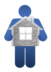icon holding a home. illustration design