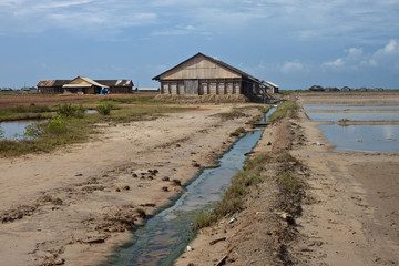 Empty salt fields near Kampot, Cambodia