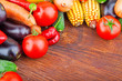 Autumn fresh vegetables on wooden background, food photo