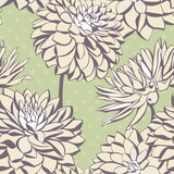 Vintage seamless pattern with decorative dahlia flowers.
