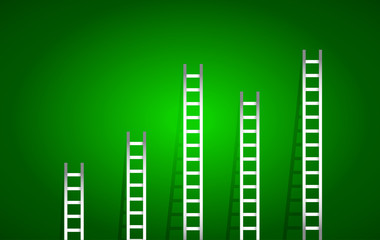 set of ladders over a green gradient