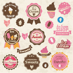 Collection of vintage retro ice cream labels, stickers