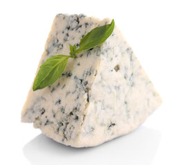Tasty blue cheese with basil, isolated on white
