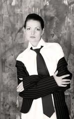 Beautiful woman wearing gentlemen shirt and neck-tie