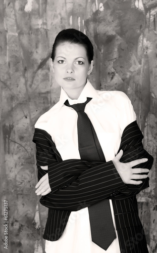 Beautiful woman wearing gentlemen shirt and neck-tie