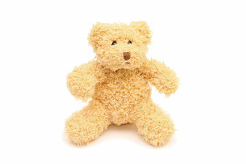Funny teddy bear isolated on white