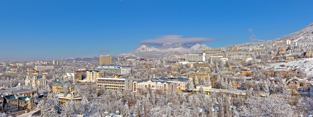 Panorama of winter Pyatigorsk.