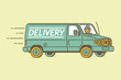 Delivery van and delivery man. Vector illustration.