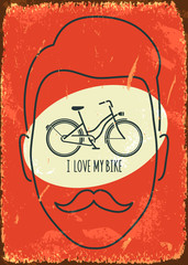 I love my bike. Vector illustration.