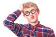 Young teen boy in nerd glasses.