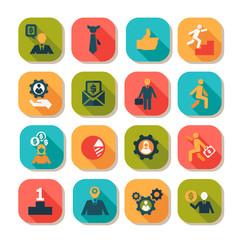 Flat business success icons set