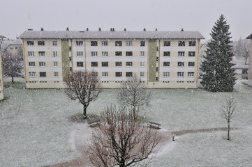 neige au jardin public