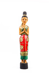 Ethnic wooden statue depicting a women with Indian dresses