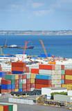 Port cargo container and pipe in port of Odessa, Ukraine