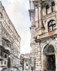watercolor illustration of city scape.