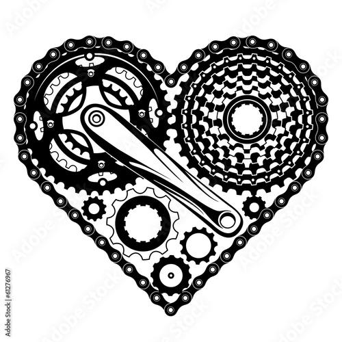 Fototapeta bicycle parts heart