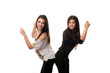 Two girlfriend dancing and having fun