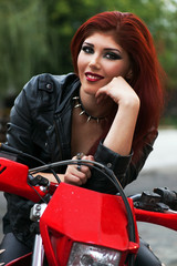 Beautiful smiling biker chick