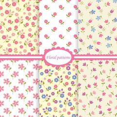 Set of flower seamless patterns