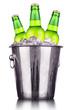 Beer bottles in ice bucket isolated