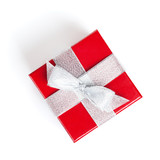 Fototapety Red gift box with silver ribbon