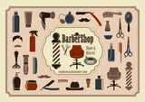 Barbershop icons poster