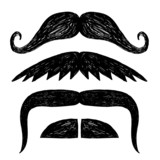 Set of hand drawn mustache.