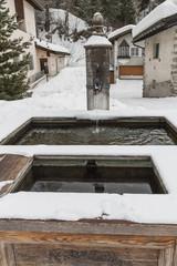 Sils Maria, Engadin, Bergdorf, Holzbrunnen, Alpen, Schweiz