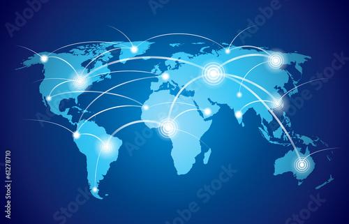 Mapa świata z globalną siecią