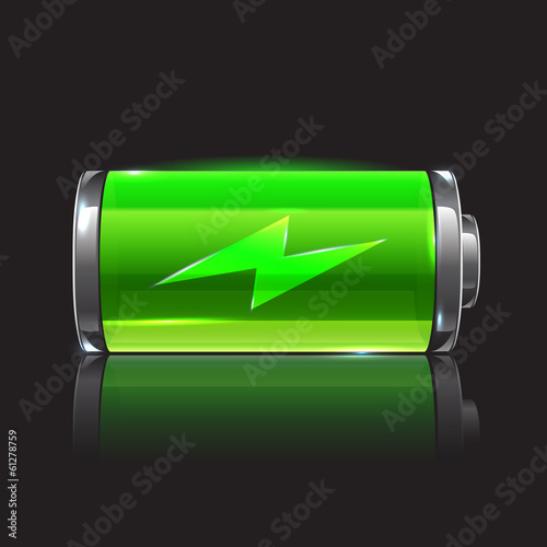 Vector green battery, full charge with lighting - 61278759
