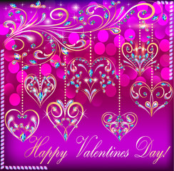 postcard on Valentine's day with the heart of a suspended