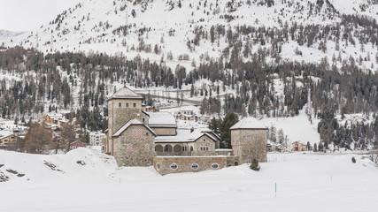 Silvaplana, See, Winter, Langlauf, Schloss, Alpen, Schweiz