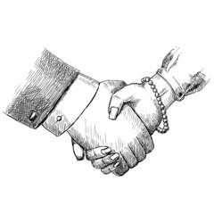 Business handshake man and woman