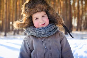 boy in a fur hat