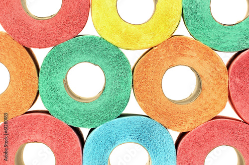 A lot of colorful toilet paper rolls - 61280183
