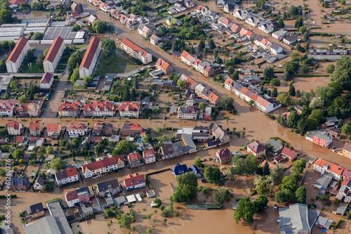 canvas print picture flood-destroyed town/village