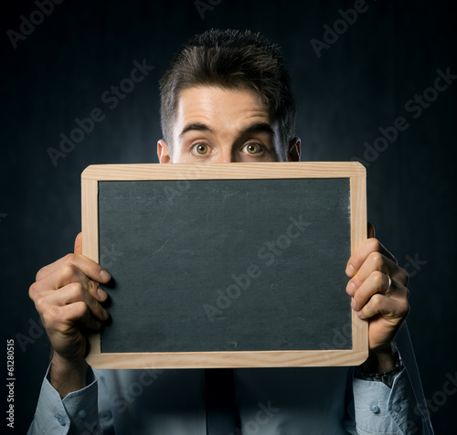 Man with blackboard