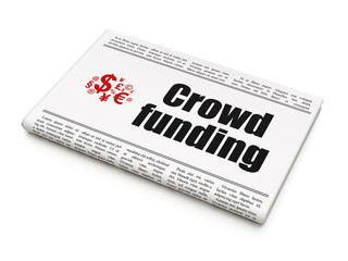 Finance concept: newspaper with Crowd Funding and Finance Symbol