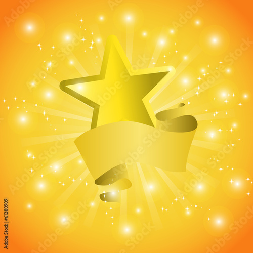 Postcard with a tape star and sequins for congratulations or