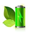 Green energy battery with leaves - vector illustration - 61281303