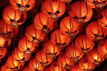 Closeup of roof full of red Chinese lanterns