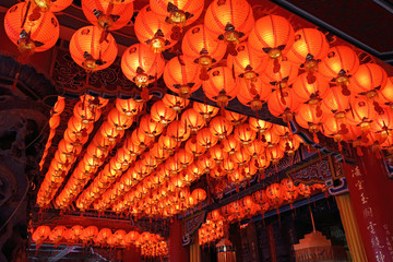 Roof full of red Chinese lanterns in a temple